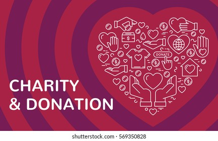 Vector graphic flat icon set for charity donation organization, volunteer center and fundraising event. Clean and simple outline design elements, symbols and pictograms in heart form on background