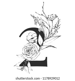 Vector Graphic Floral Numbers - digit 2 with black & white inked flowers bouquet composition. Unique collection for wedding invites decoration, logo, baby shower, birthday and many other concept ideas