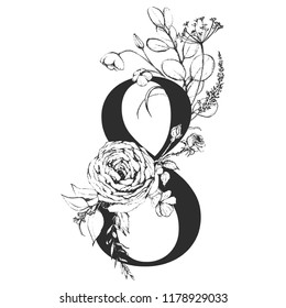 Vector Graphic Floral Numbers - digit 8 with black & white inked flowers bouquet composition. Unique collection for wedding invites decoration, logo, baby shower, birthday & many other concept ideas.