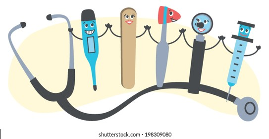 Vector Graphic of Friendly Medical Tools. Common doctors' instruments with happy faces.