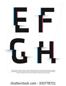 Vector graphic futuristic glitch font