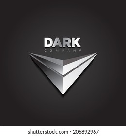 Vector graphic futuristic silver 3D symbol with sample text