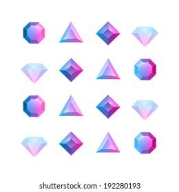 Vector graphic gem illustrations four shapes