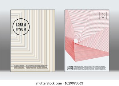 Vector graphic geometric covers with minimalistic pattern for templates, layouts, posters, brochures, catalogs, flyers. Set of placards with minimalistic geometry elements. Design template with lines  - Shutterstock ID 1029998863