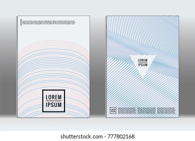 Vector graphic geometric covers with minimalistic pattern for templates, layouts, posters, brochures, catalogs, flyers. Set of placards with minimalistic geometry elements. Design template with lines  - Shutterstock ID 777802168