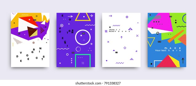 Vector graphic geometric elements and shapes for modern art. Covers for placard, poster, magazine, brochure, flyer or banner design.
