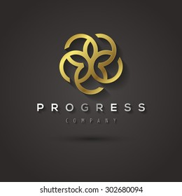 Vector graphic geometric golden flower star symbol with sample text for your company