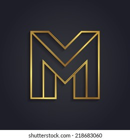 Vector graphic gold alphabet / impossible letter symbol / Letter M