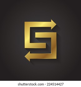 Vector graphic gold arrow alphabet letter symbol / Letter S