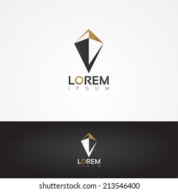 Vector graphic gold and grey symbol of a shield with sample text for your company