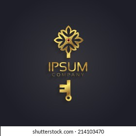 Vector graphic gold and ruby flower / key shaped symbol with sample text
