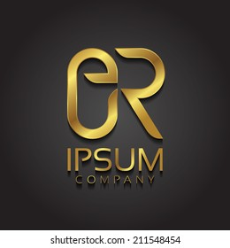 Vector graphic golden ER letter combination symbol with sample text