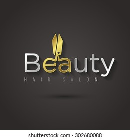 Vector graphic golden manicure scissors symbol with sample text for your company