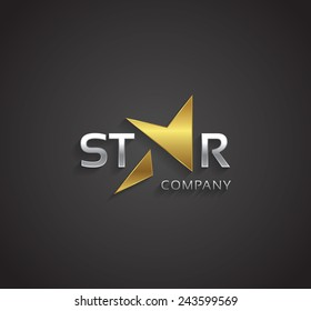 Vector graphic golden and silver elegant star symbol for your company