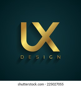 Vector graphic golden UX / User Experience / type symbol for your company