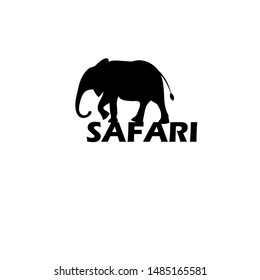 Vector graphic icon of a beautiful walking elephant Isolated on a white background. Design template for business card or travel poster.