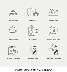 Vector graphic icon set of airport, transport and traveling
