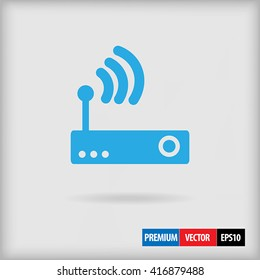 Vector graphic icon of wireless WI-FI router in simple design of flat style