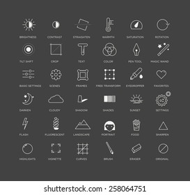 Vector graphic icons, selection of creative and useful photo editing tools, for applications or business
