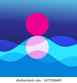 Vector graphic illustration of abstract landscape with sunny sunset and sea waves.