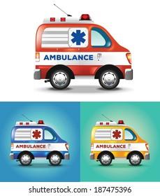 Vector graphic illustration ambulance car blue orange yellow