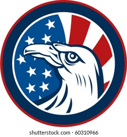 vector graphic illustration of an American eagle with stars and stripes flag set inside a circle on white background