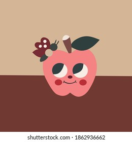 vector graphic illustration of apple perched butterfly used for wall decoration and others