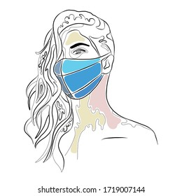 Vector graphic illustration of beautiful cute face of young artistic girl with thick long hair, mask. Hand drawn sketch line drawing. Portrait closeup woman. Silhouette artistic
