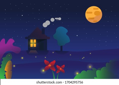 Vector Graphic Illustration of Beautiful scenery Night Landscape With Cabin Silhouette and Beautiful Nature Modern Art