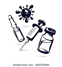 Vector graphic illustration of bottle, ampoule with medicine and medical syringe for injections. Antivirus vaccination concept.