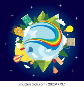 Vector graphic illustration of a cityscape with a rainbow, trees and houses