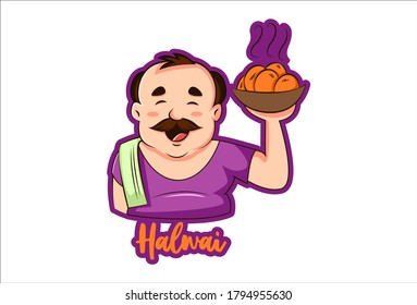 Vector graphic illustration of a confectioner. Halwai Hindi text translation- confectioner. Individually on a white background.
