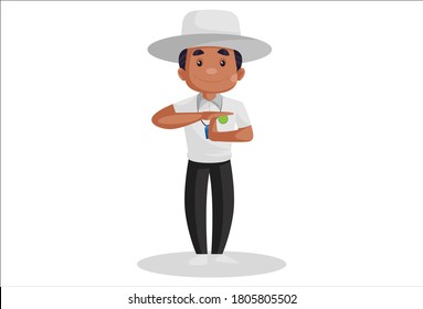 Vector graphic illustration. Cricket umpire is giving a signal of the decision review system during the match. Individually on a white background.