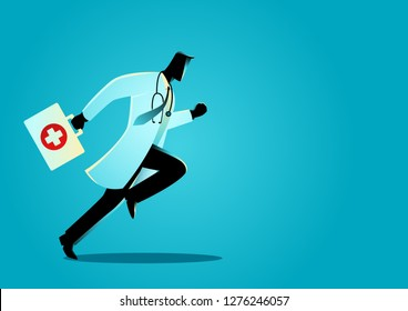 Vector graphic illustration of a doctor running with suitcase. Responsive, emergency concept
