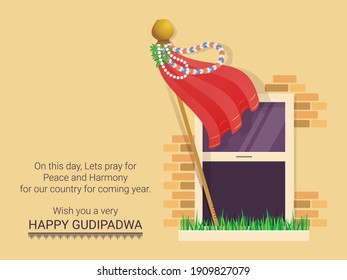 Vector Graphic Illustration Gudhi Padwa signifies the arrival of spring; Traditional Lunisolar Hindu calendars first day of the Chaitra Month is celebrated as a new year for Marathi and Hindu people.