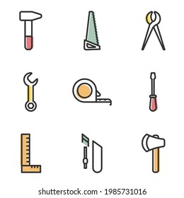 Vector Graphic Illustration of Hand Tool Icons Set Collection