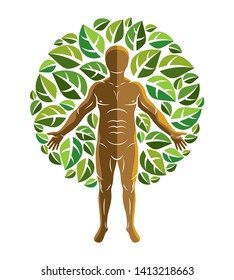 Vector graphic illustration of human, individuality surrounded by eco green leaves. Vegetarian theme, vegan lifestyle.
