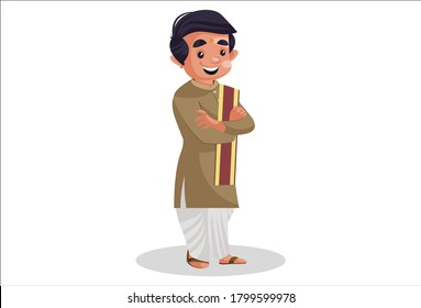 Vector graphic illustration. Indian Bengali man is standing. Individually on a white background.