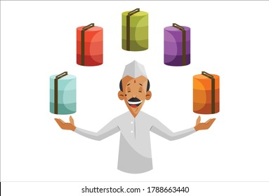 Vector graphic illustration. Indian Dabbawala with many tiffins as a tiffin service. Individually on a white background.