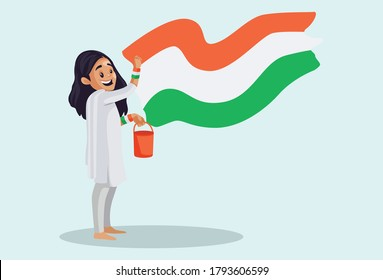 Vector graphic illustration. Indian girl is holding a color bucket and painting the Indian flag on a wall. Individually on a colored background.