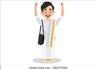 Vector graphic illustration. Indian Malayali man is happy and wearing a sling bag on shoulder. Individually on a white background.