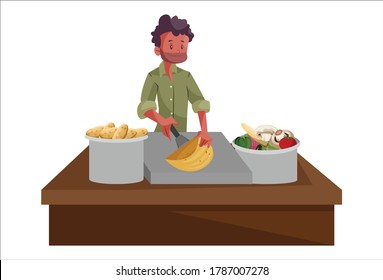 Vector graphic illustration of an Indian vendor cutting and selling vegetables on stall. Individually on white background