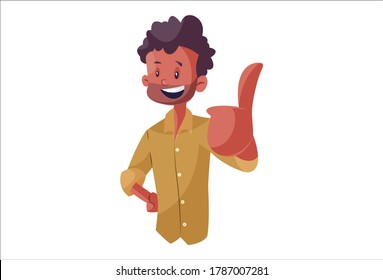 Vector graphic illustration. Indian vendor is showing thumbs up. Individually on white background.