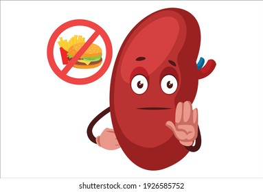Vector graphic illustration. Kidney is giving stop hand sign. Individually on white background.
