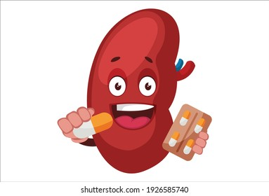Vector graphic illustration. Kidney is holding medicine in hand. Individually on white background.