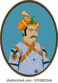 Vektorgrafik. King Akbar . Mogulkaiser