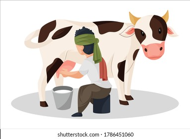 Vector graphic illustration. Milkman is extracting milk from the cow in bucket. Individually on a white background.