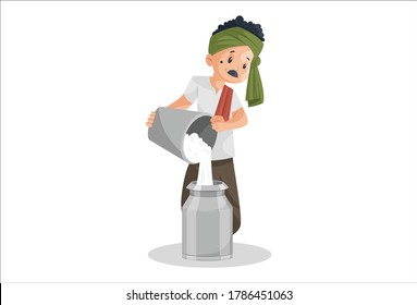 Vector graphic illustration. Milkman is filling milk in container with bucket. Individually on white background.