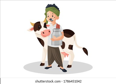 Vector graphic illustration. Milkman holding container and standing with a cow. Individually on white background.