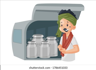 Vector graphic illustration of a milkman with milk containers. Individually on white background.
